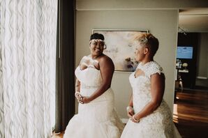 Same-Sex Couple in Lace Gowns and Headbands