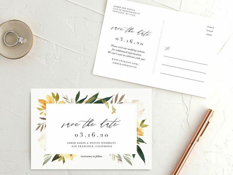 floral destination wedding save the date