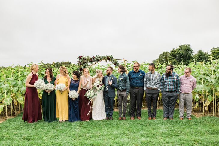 Mismatched Bridesmaid Dresses and Groomsmen Attire