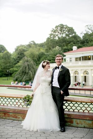 Bride and Groom at Prospect Park Boathouse