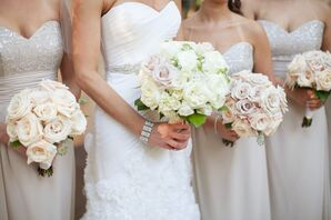 Ivory and Blush Rose Bouquets