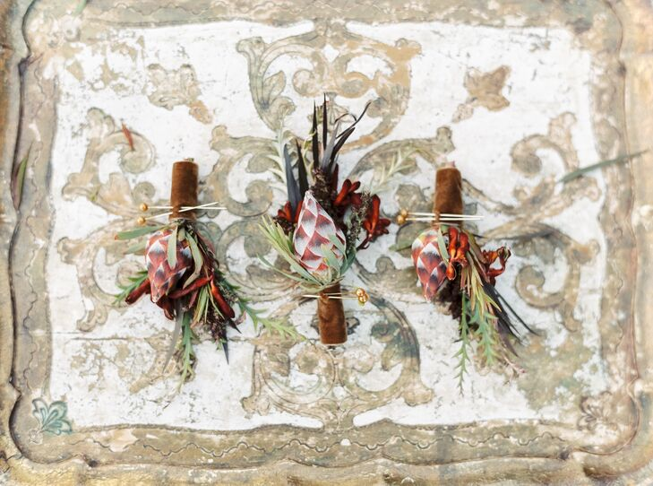 Bohemian Boutonnieres with Fall Sprigs and Leaves