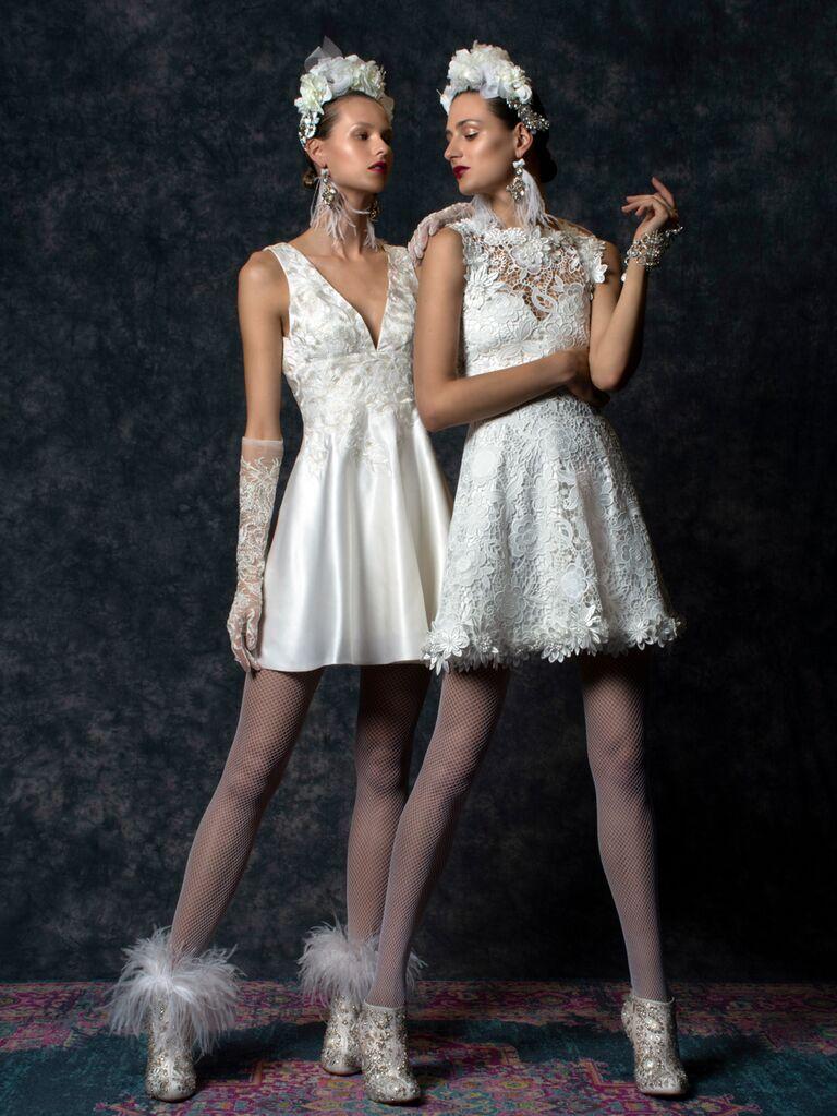Naeem Khan Spring 2020 Bridal Collection short wedding dresses with fishnet tights