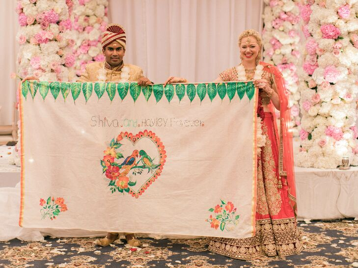 Couple Presenting Personalized Quilt at Hindu Ceremony