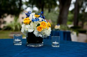 Low Hydrangea, Garden Rose and Orchid Centerpiece