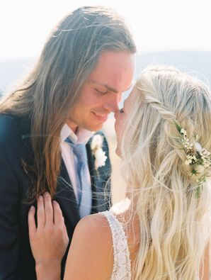 Bohemian Groom and Bride with Flower Hair Accessory