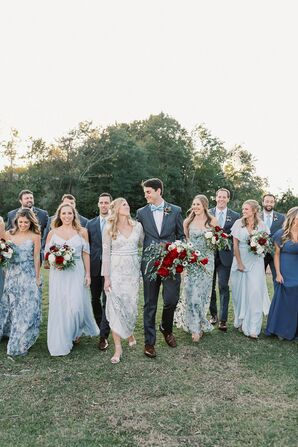 Bohemian Wedding Party with Blue Dresses and Gray Suits