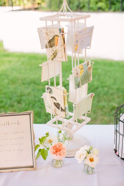 Instead of a traditional guest book, Erica and Kenny opted for something nontraditional. Playing off the day's vintage theme, the couple found old postcards with images of various flora and fauna and put them out for guests to fill with their warm well wishes and advice.