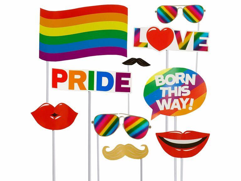 Rainbow pride wedding photo booth props