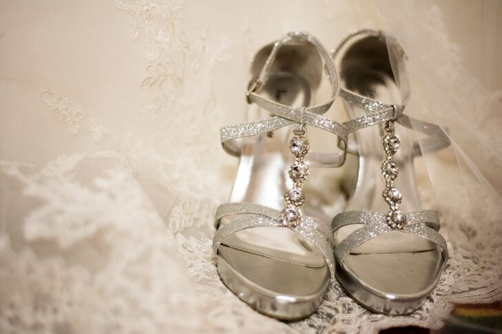Silver Open-Toed Sparkly Shoes