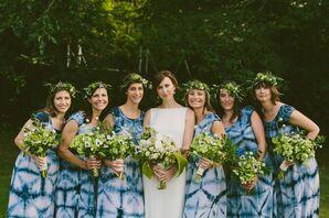 Shibori Bridesmaid Dresses and Flower Crowns