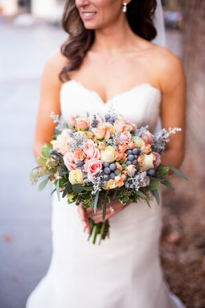 Pastel Rose and Hypericum Berry Bouquet
