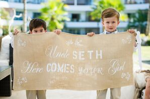 Here Comes Your Girl Ceremony Sign on Beach Wedding