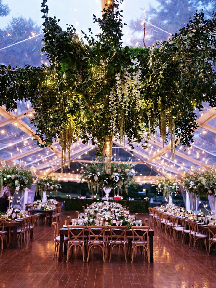 Hanging Greenery for Reception at The Forest Lake Club in Pennsylvania