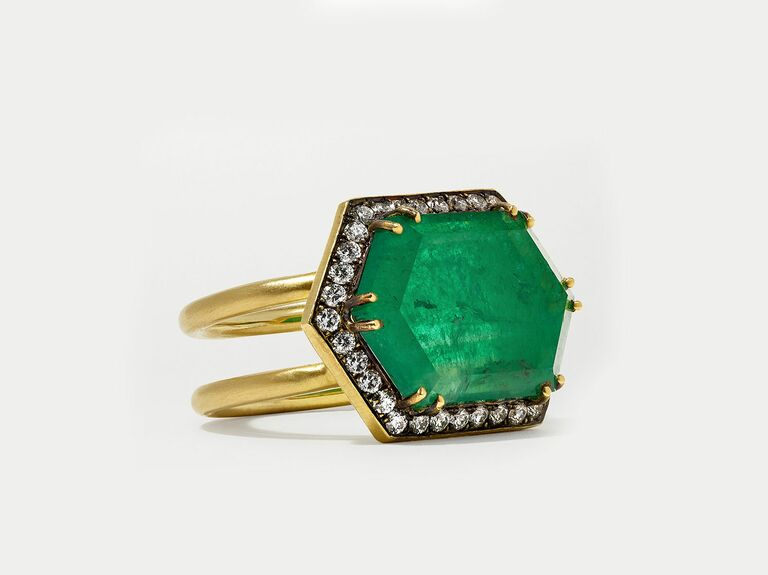Syvla & Cie emerald engagement ring