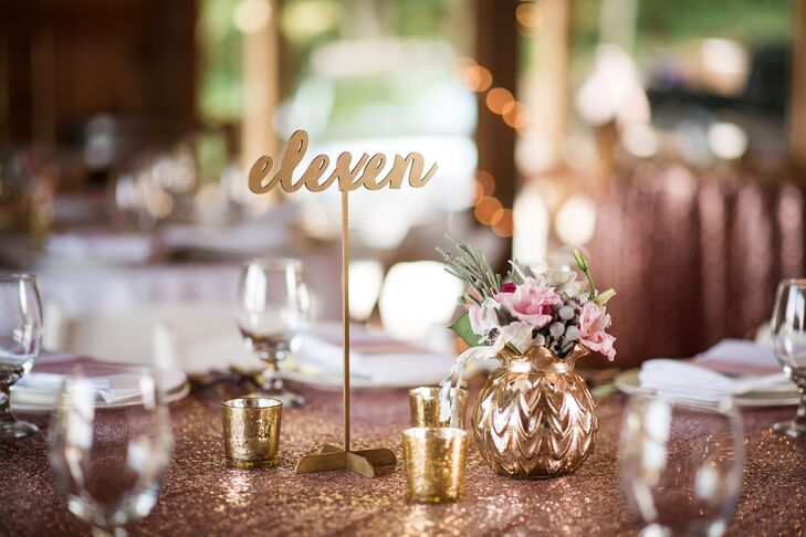 Glam Gold Table Numbers and Sequin Table Linens
