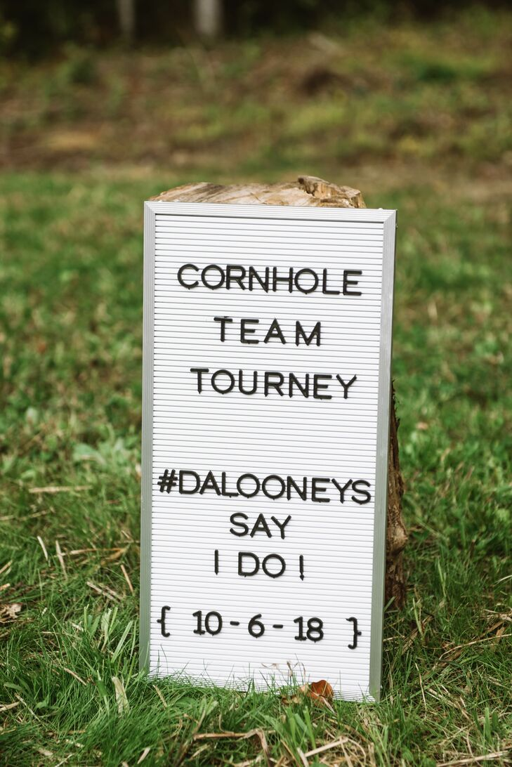 Casual Cornhole Sign with Wedding Hashtag
