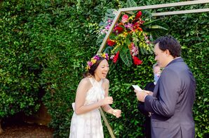 Bride Laughing During Backyard Minimony in Southern California