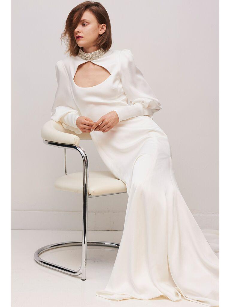 Rivini by Rita Vinieris cuff sleeve sheath dress