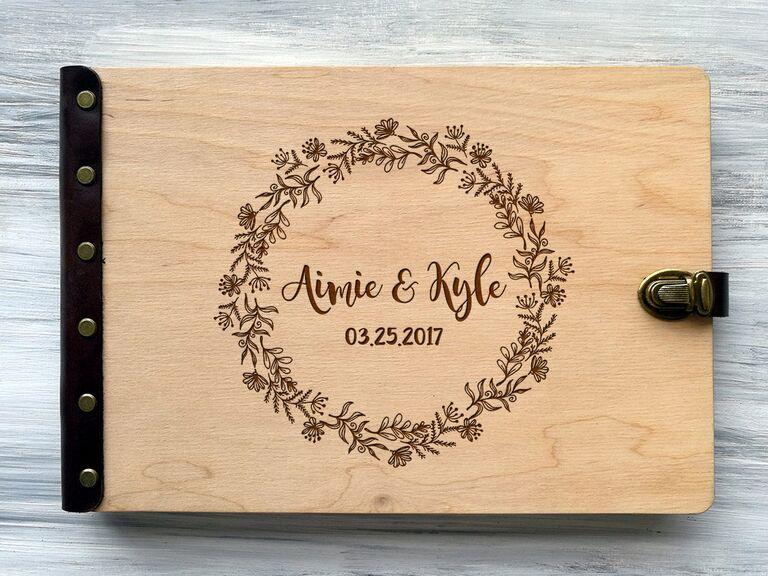 Rustic wooden wedding photo album