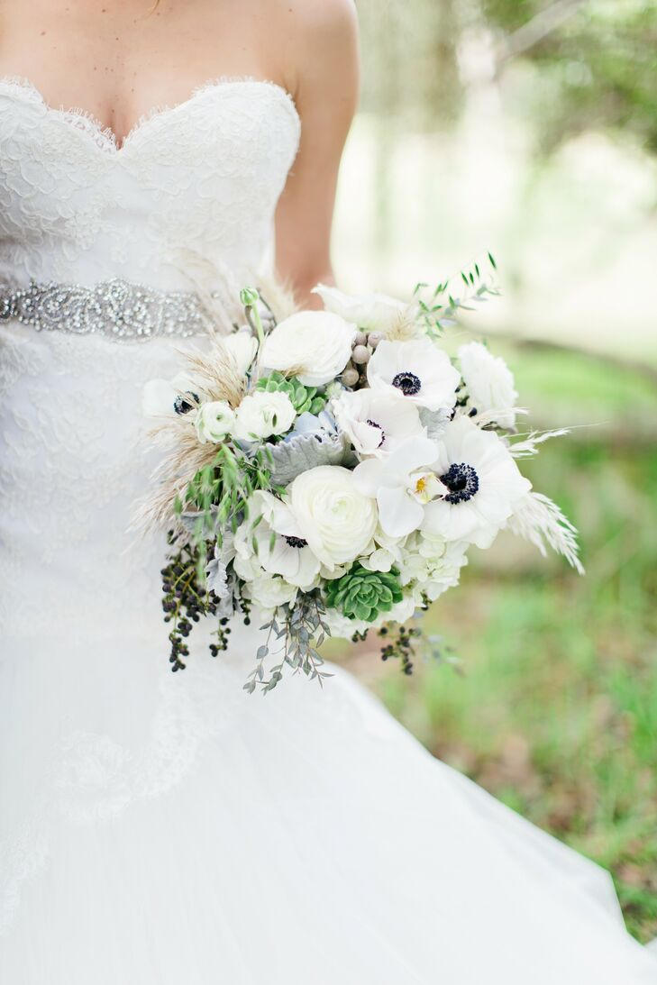 Bailie's nearly all-white bouquet had anemones, hydrangeas, orchids and succulents with touches of beach grass and tiny blue berries.