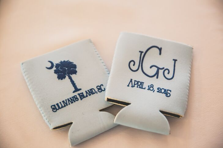 As favors, Jenna and Joshua gave their guests blue drink koozies that was personalized with their monogram and wedding date as well as the location of their wedding and South Carolina's emblem.