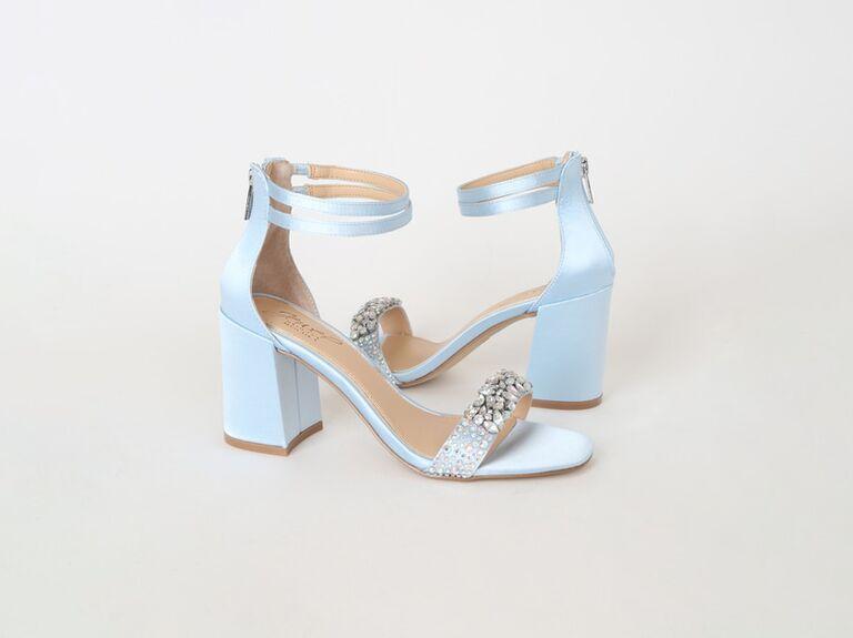 Blue sparkly wedding sandal heels