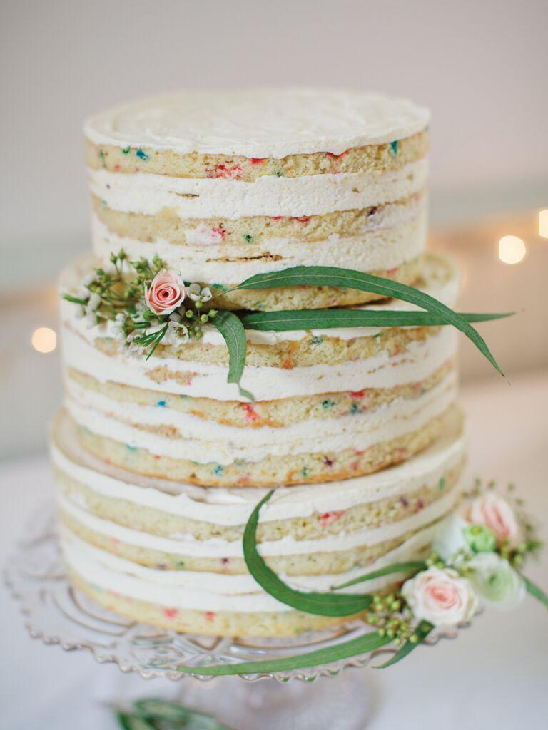Simple naked funfetti wedding cake