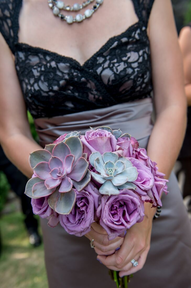 Purple Rose And Succulent Bridesmaid Bouquet