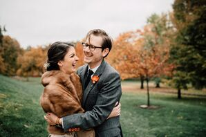 Rustic Fall Couple with Gray Suit and Brown Fur Jacket