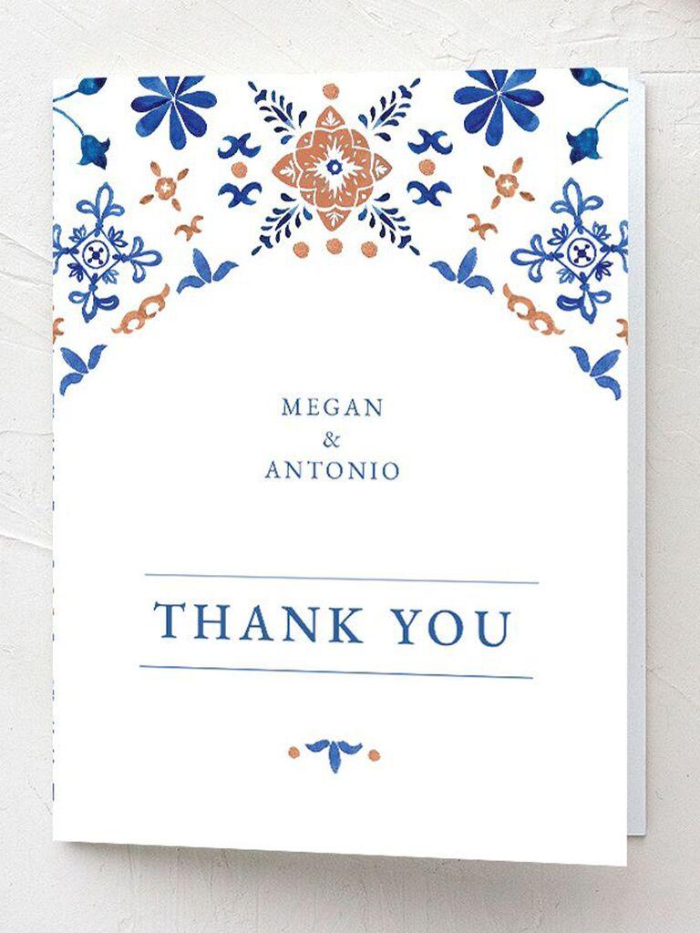 spanish tile wedding thank-you card