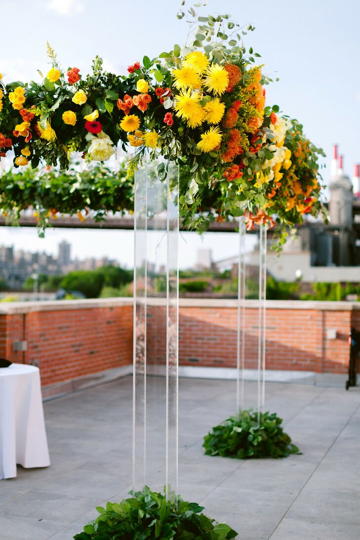 Acrylic Chuppah with Red, Orange and Yellow Flowers