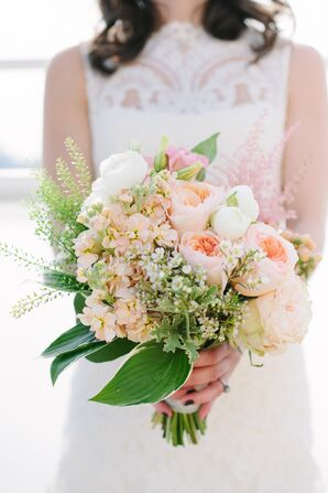 Pink and Ivory Peony and Garden Rose Bridal Bouquet