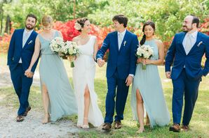 Navy and Green Bridal Party