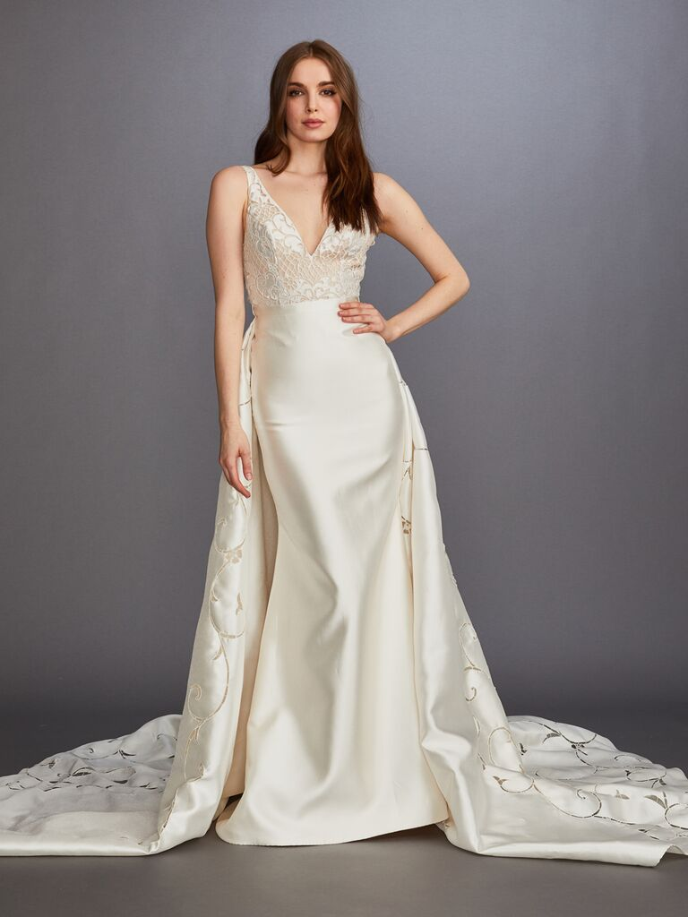 Lazaro Fall 2019 Bridal Collection ivory satin fitted wedding dress with embroidered train
