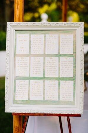 Hand-Lettered Seating Chart in Vintage Frame