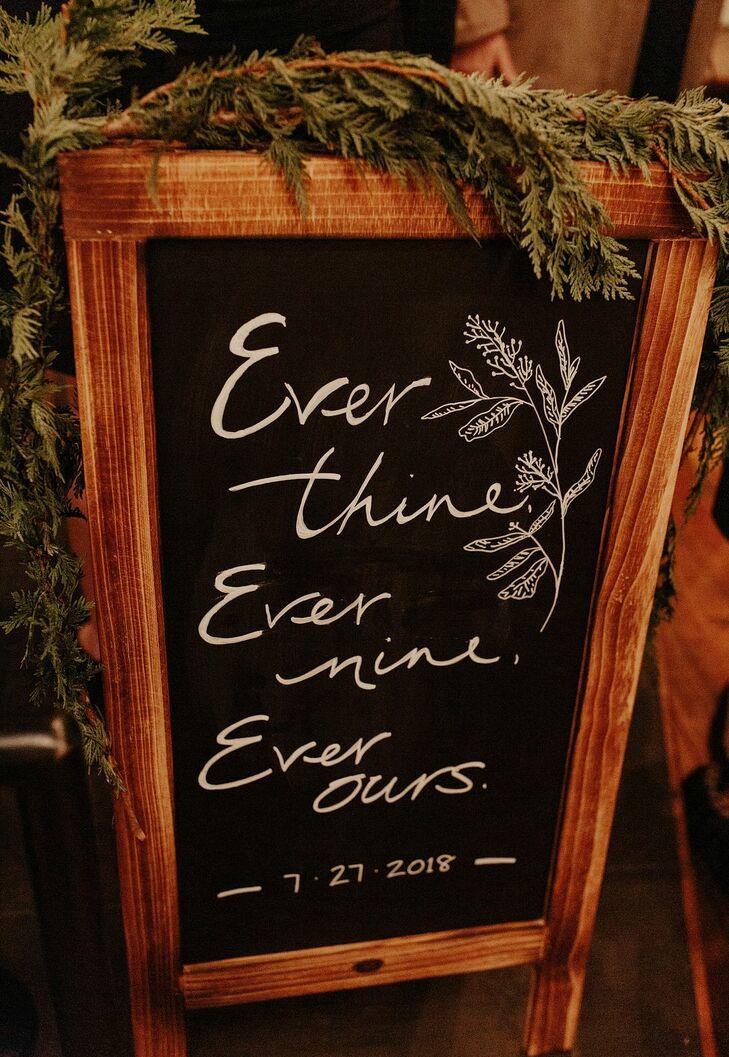 Rustic Chalkboard Sign for Wedding in Kansas City, Missouri