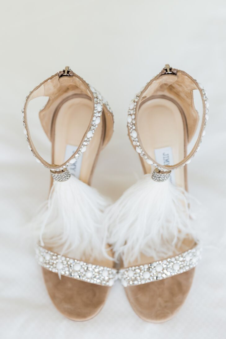 Glam Heels with Bead and Feather Embellishments