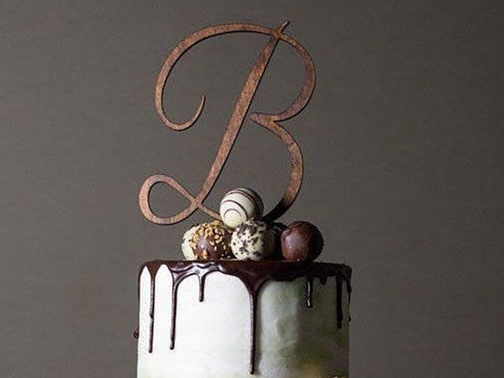 Wooden custom wedding cake topper