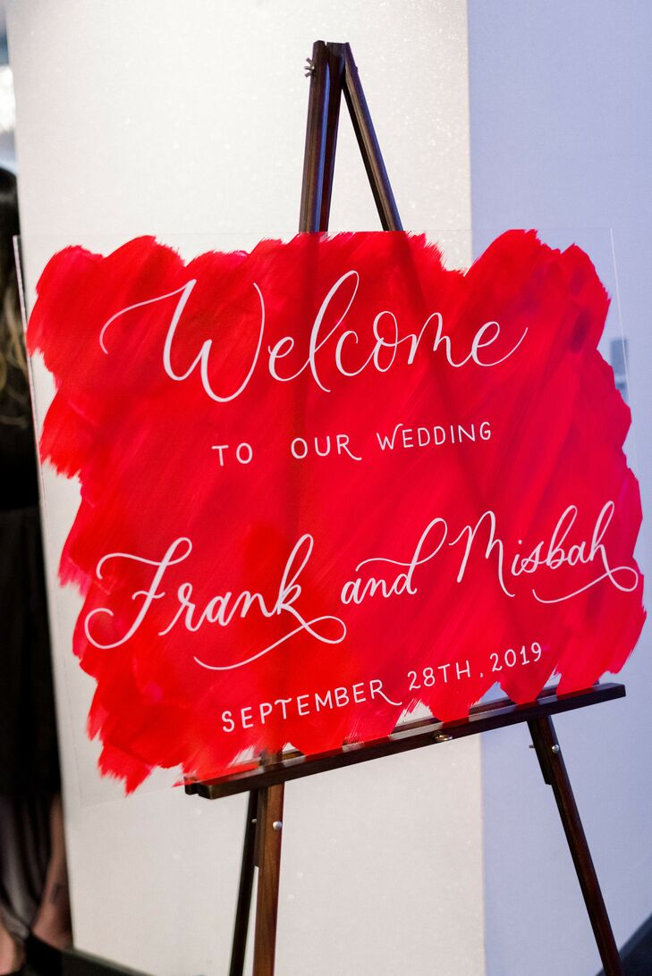 Modern Red Welcome Sign with White Calligraphy
