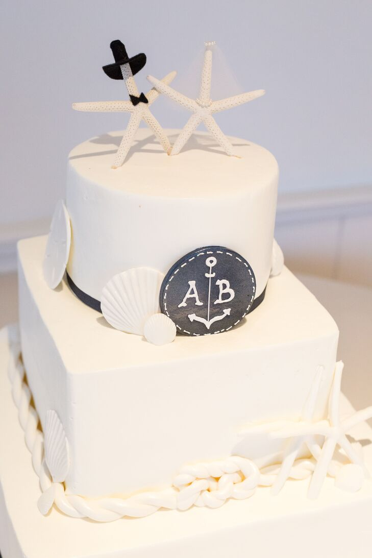 Two-tier Nautical Wedding Cake