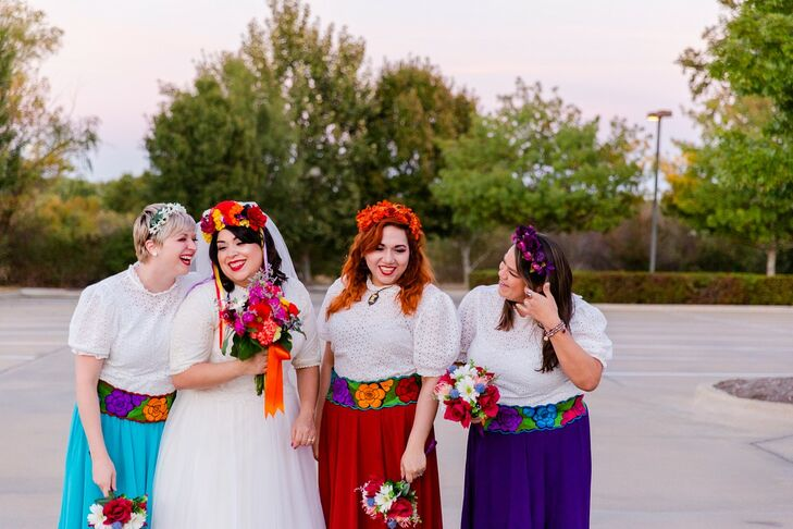 Bridesmaids with Colorful Skirts and Flower Crowns