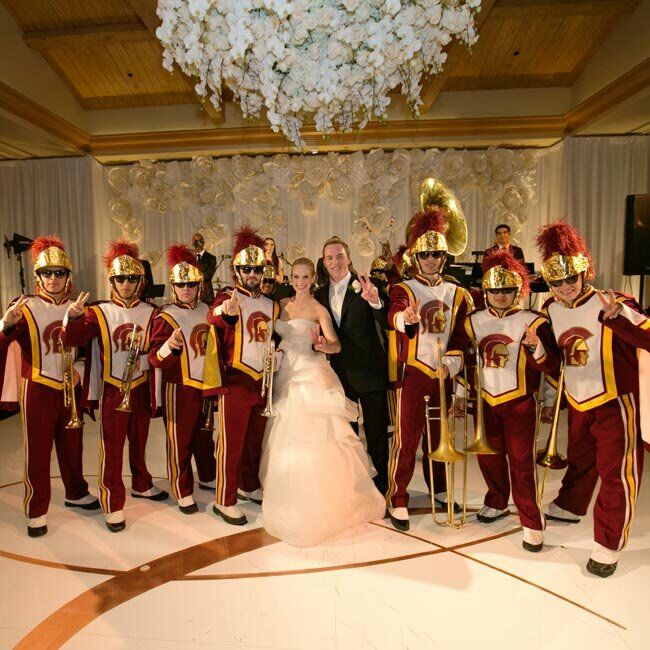 The USC marching band made a grand entrance into the reception after Casey and Sean's first dance and got guests fired up for the evening's festivities.