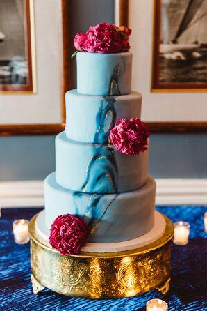Blue Agate-Inspired Wedding Cake
