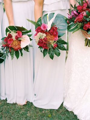 Tropical Fuchsia Bouquets of Roses and Tropical Leaves