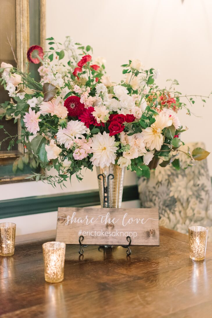 Gold Vase with Dahlias and Peonies