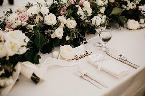 Elegant Floral Centerpieces, Custom Nameplates