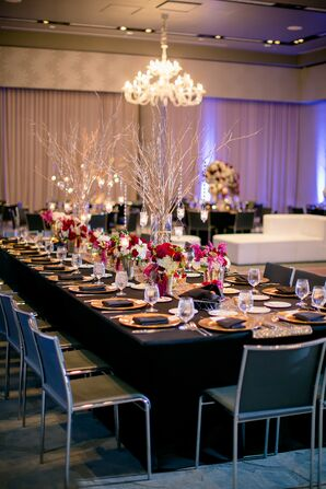 Formal Black and Gold Dining Tables with Jewel-Toned Flowers