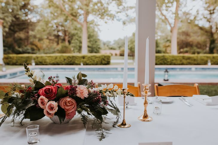 Elegant Dining Table with Taper Candles and Rose Centerpieces