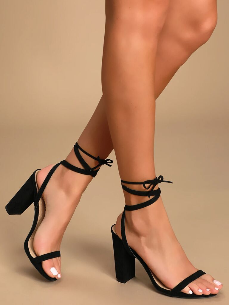 Lulus Myla black suede lace-up heels